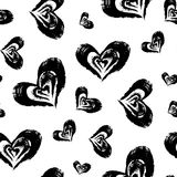 Seamless heart pattern. Hand painted hearts with rough edges. Royalty Free Stock Image
