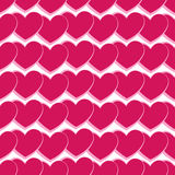 Seamless heart. Seamless pattern with light pink hearts pink stroke on white background Stock Image