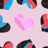 Seamless  heart pattern on paper texture. Stock Image