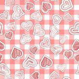 Seamless heart pattern on paper texture vector illustration