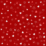 Seamless heart patterns with fabric texture. And red background Royalty Free Stock Photography