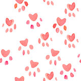 Seamless heart paws traces pattern, watercolor with clipping mask, love animals conception.  Royalty Free Stock Photo