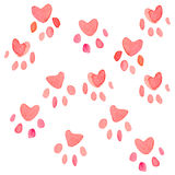 Seamless heart paws traces pattern, watercolor with clipping mask technique.  Royalty Free Stock Photos