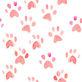 Seamless heart paws traces watercolor pattern Stock Photos
