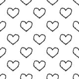 Seamless heart and thorns pattern on white Royalty Free Stock Photography