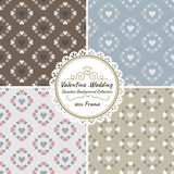 Seamless heart vector wedding and valentine background set with frame Stock Photography