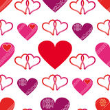 Seamless of Hearts. Seamless of red hearts for Valentine day on white background - vector illustration.You can use it to fill your own background Stock Image