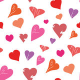 Seamless of Hearts. Seamless of red hearts for Valentine day on white background - vector illustration.You can use it to fill your own background Royalty Free Stock Photos