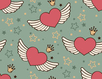 Seamless with hearts. Romantic seamless with flying hearts and crowns Stock Image