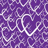 Seamless hearts background. hearts for Valentine`s day, vector illustration. purple pattern background with hand drawn elements. Purple pattern background with stock illustration