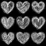 Seamless hearts chalkboard, love background and te Stock Images