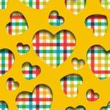Seamless hearts checkered Stock Photo