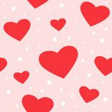 Seamless hearts and dots pattern royalty free illustration