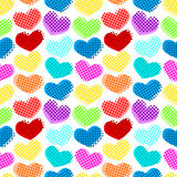 Seamless hearts dots pattern vector illustration