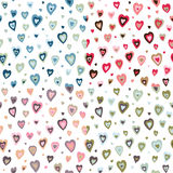 Seamless hearts fifties retro design pattern. Different colors stock illustration