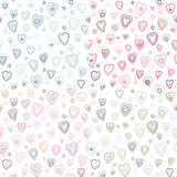 Seamless hearts fifties retro stroke design patter. N different colors Royalty Free Stock Photo