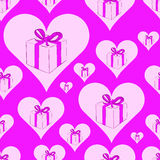 Seamless hearts with gifts. Seamless texture with gift boxes in pink hearts Royalty Free Stock Image