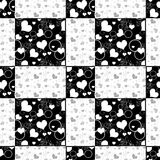 Seamless hearts patchwork design pattern retro hearts background Stock Images