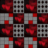 Seamless hearts patchwork design pattern retro hearts background Royalty Free Stock Images
