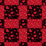 Seamless hearts patchwork design pattern retro red background Royalty Free Stock Photos