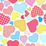 Seamless hearts pattern. Seamless pattern for Valentine's Day with patchwork hearts
