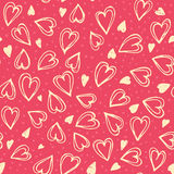 Seamless hearts pattern. Hand drawn romantic vector seamless background pattern with hearts. Bright backdrop for wrapping paper, greeting cards, posters Stock Photos