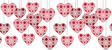 Seamless hearts pattern. Seamless illustrated pattern made of red hearts Royalty Free Stock Photos