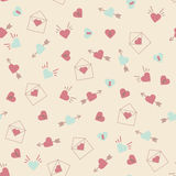 Seamless hearts pattern retro texture, pink and mint hearts back Stock Image