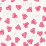 Seamless hearts pattern retro texture, red and mint hearts backg Stock Photos
