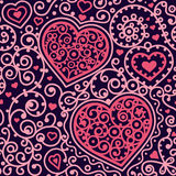 Seamless hearts pattern. With swirls vintage lines vector colors on light background eps 10 rgb Royalty Free Stock Image