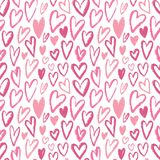 Seamless hearts pattern. Vector repeating texture. Pink ornament for wrapping paper, kids textile design or fashion prints. Valent Royalty Free Stock Photo