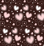 Seamless hearts pattern. Vector repeating texture. Pink and white lace hearts on a brown background Royalty Free Stock Photo