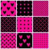 Seamless hearts patterns stock photos