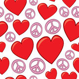 Seamless Hearts and Peace Signs Royalty Free Stock Image
