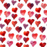 Seamless hearts watercolor pattern Royalty Free Stock Photo