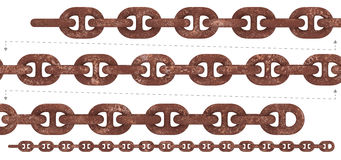 Seamless heavy duty rust chain. Rustic thick iron chain with reinforcement and rusty texture. Isolated 3D rendering aged chains could linked head to tail and Stock Photo