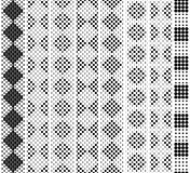 Seamless in height, checkered monochrome lace pattern for border, tape, belt, strip, edging. Black on white. Vector set Royalty Free Stock Photo