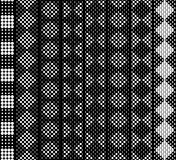 Seamless in height, checkered monochrome lace pattern for border, tape, belt, strip, edging. White on black. Vector set. Seamless in height, checkered monochrome Royalty Free Stock Photos