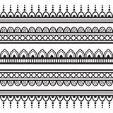 Seamless Henna Borders Vector Set Abstract Floral Patterns 1 Royalty Free Stock Photography