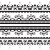 Seamless Henna Borders Vector Set Abstract Floral Patterns 2 Stock Image