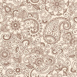 Seamless Henna Paisley Flowers Pattern Vector Illu Stock Photo