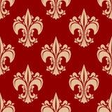 Seamless heraldic fleur-de-lis floral pattern Royalty Free Stock Images