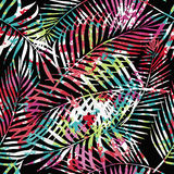 Seamless herbal background. Seamless tropical pattern. Beautiful exotic abstract allover design. Palm leaves of different shapes on dark background, for fashion Stock Photography