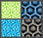 Seamless hexagon cube background texture. Abstract backdrop, set of four Stock Photo