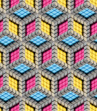Seamless hexagon cube background texture. Abstract backdrop Vector Illustration