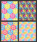 Seamless hexagon cube background texture. Abstract backdrop, set of four, set of four Vector Illustration
