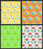 Seamless hexagon cube background texture. Abstract backdrop, set of four Royalty Free Stock Photography
