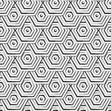 Seamless hexagon monochrome pattern, repeating geometric texture, linear structure background Stock Photos