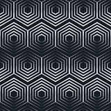 Seamless hexagon monochrome pattern, repeating geometric texture, linear structure background Royalty Free Stock Photo
