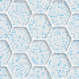 Seamless Hexagon Pattern. White and Blue Wrapping Background Royalty Free Stock Photography